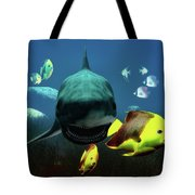Shark And Fishes Tote Bag