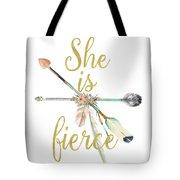 She Is Fierce Boho Tribal Gold Blush Arrow Print Tote Bag