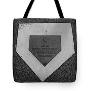 Shea Stadium Home Plate In Black And White Tote Bag by Rob Hans