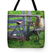 Sheep And Bicycle Tote Bag