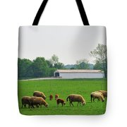 Sheep And Covered Bridge Tote Bag