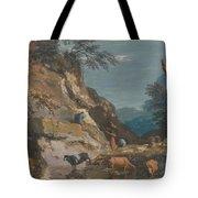 Sheep And Three Peasants Below A Cliff Tote Bag