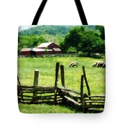 Sheep Grazing In Pasture Tote Bag