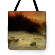 Sheep In A Winter Landscape Evening Tote Bag