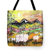Sheep On Sunny Summer Day Tote Bag