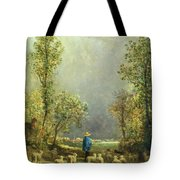 Sheep Watching A Storm Tote Bag