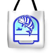 Sheepshead Fish Jumping Fishing Boat Crest Retro Tote Bag