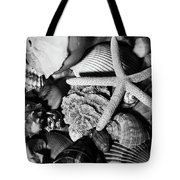 Shells And Starfish In Black And White Tote Bag