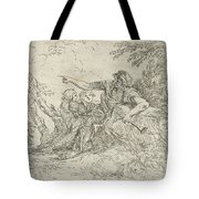 Shepherd Holding A Flute And Two Other Figures In A Landscape Tote Bag