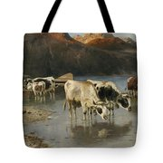 Shepherd With Cows On The Lake Shore Tote Bag