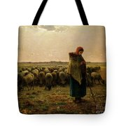 Shepherdess With Her Flock Tote Bag by Jean Francois Millet