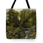 Shepherds Next To A Brook By Thomas Creswick Tote Bag