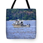 Sheriff Boat On The Hudson Tote Bag