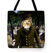 Shetland Sheepdog Art Canvas Print - Music In The Tuileries Gardens Tote Bag