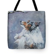 Shetland Sheepdog With Chickadee Tote Bag