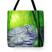 Shinto Lantern In Bamboo Forest Tote Bag