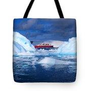 Ship In Between Icebergs Tote Bag