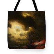Ship On Fire Tote Bag