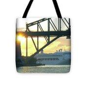 Ship Under Sydney Harbour Bridge Tote Bag