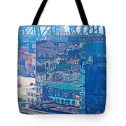 Shipping Containers And Building Windows Reflecting Graffiti  Art Of Valparaiso-chile Tote Bag