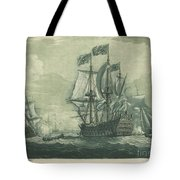 Shipping Scene With Man-of-war Tote Bag