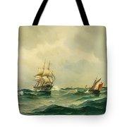 Ships At Sea Tote Bag