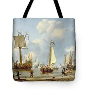 Ships In Calm Water With Figures By The Shore Tote Bag by Abraham Storck