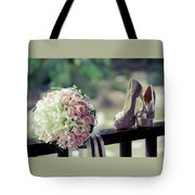 Shoes And Wedding Bouquet Tote Bag