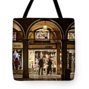 Shop Windows At Night On Piazza San Marco - Venice Tote Bag