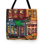 St Viateur Bagel Shop And Mehadrins Kosher Deli Best Original Montreal Jewish Landmark Painting  Tote Bag