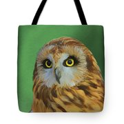 Short Eared Owl On Green Tote Bag