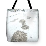 Show Footprints In Snow On Sidewalk Along The Park Tote Bag