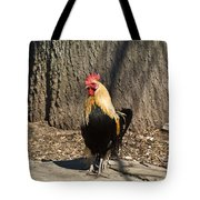 Showy Rooster Posed Tote Bag