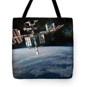 Shuttle Docked At Space Station Tote Bag