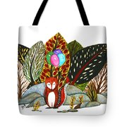 Shy Fox With Balloons  Tote Bag