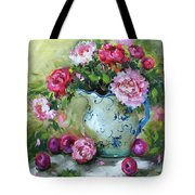 Shy Plums And Pink Peonies Tote Bag