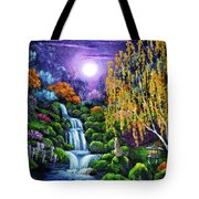 Siamese Cat By A Cascading Waterfall Tote Bag