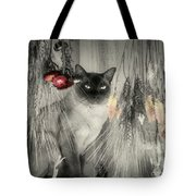 Siamese Cat In Black And White Tote Bag