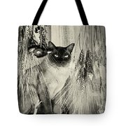 Siamese Cat Posing In Black And White Tote Bag