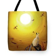 Siamese Cat With Red Dragonflies Tote Bag