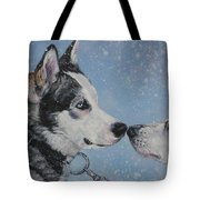 Siberian Huskies In Snow Tote Bag by Lee Ann Shepard