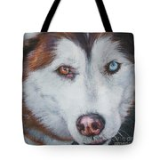 Siberian Husky Red Tote Bag
