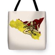 Sicily Map Art With Flag Design Tote Bag
