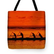 Side View Of Paddlers Tote Bag