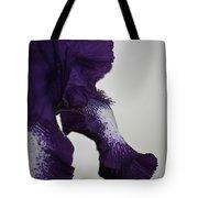 Side View Purple And White Iris Tote Bag