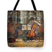 Sidewalk Cellist Tote Bag