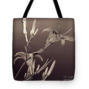 Sidewalk Lilies Sepia Square Format  Tote Bag