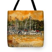 Sienna Sky Boat Marina Nautical Art Tote Bag