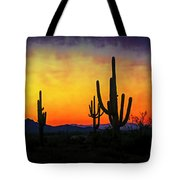 Sihouette Sunrise In The Sonoran Tote Bag