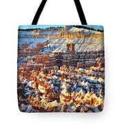 Silent City Snowy Sunrise Tote Bag